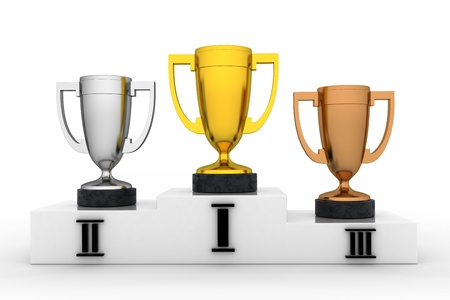 Winners cup in white background (done in 3d, isolated)  photo