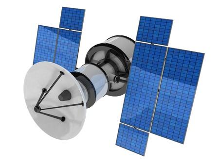 antena parabolica: El Sputnik sobre fondo blanco (hecho en 3d, aislada)    Foto de archivo
