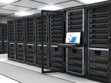 通信: 近代的なサーバー ルーム (3 d、黒で行われます) 写真素材