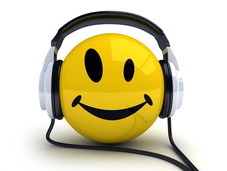 listen to music: Smiley and music (done in 3d, isolated)  Stock Photo