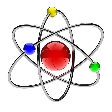 atomo: �tomo rojo abstracto (hecho en 3d, aislada)  Foto de archivo