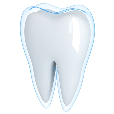molar: Tooth and blue shell  (done in 3d, isolated) Stock Photo