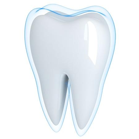 Zahn und blau-Shell (getan in 3d, isoliert) Standard-Bild