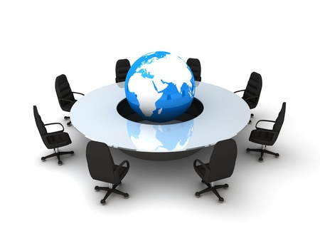 Circle table and earth (done in 3d, isolated) Stock Photo - 9663795