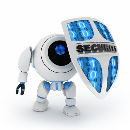 Abstract robot and shield (done in 3d,isolated) Stock Photo - 9663798