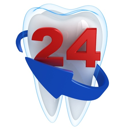 cavities: Tooth and blue shell  (done in 3d, isolated)  Stock Photo