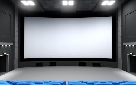 3d film: Front view cinema, empty (3d)