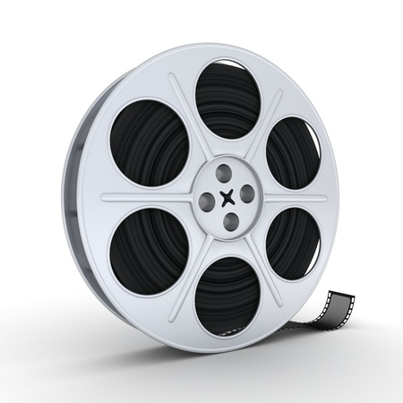 movie pelicula: Carrete de pel�cula sobre fondo blanco (3d) Foto de archivo