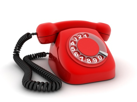 hotline: Red old telephone (3d, isolated)