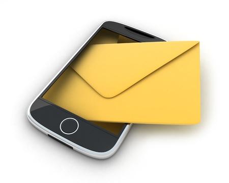 telegrama: PDA, SMS abstracta (hecho en 3d, aislado)  Foto de archivo