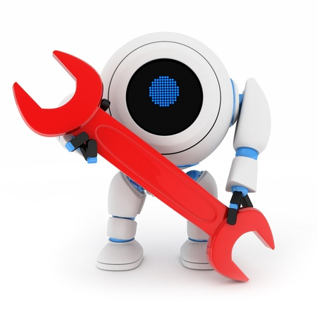 Robot and red key (done in 3d, isolated) Stock Photo - 10215991