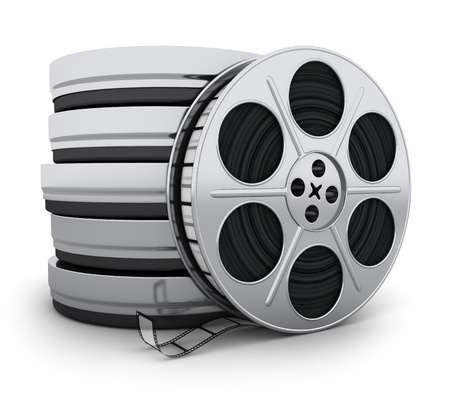 video reel: Reel film on white background (done in 3d)