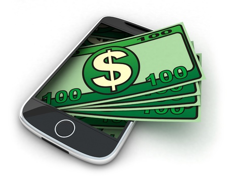 money transfer: Phone and money on white background (done in 3d)