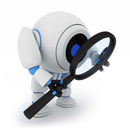 Robot and lens on white background (done in 3d) Stock Photo - 10358499