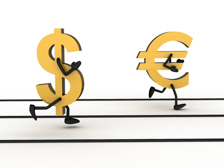 Abstract sprint money, dollar and euro (white background) photo