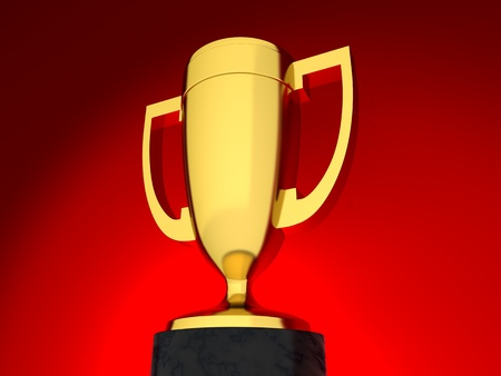 Award on red background (done in 3d)  photo