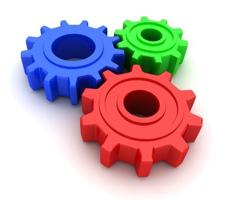 tandwielen:  Gears RGB (op witte achtergrond, in 3d gedaan)  Stockfoto