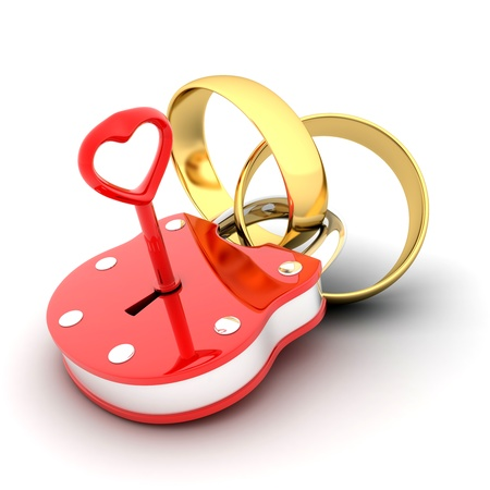 wed: Abstract Lock and ring (done in 3d)