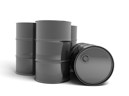 obtain: Petroleum barrel (done in 3d, on white background)  Stock Photo