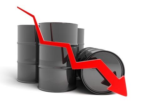 barril de petróleo: Petróleo, flecha abajo (sobre fondo blanco, hecho en 3d)