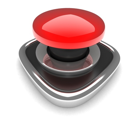 signaling: Red button  on white background (done in 3d)