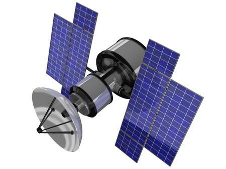 antena parabolica: Sputnik sobre fondo blanco (hecho en 3d, aislado)