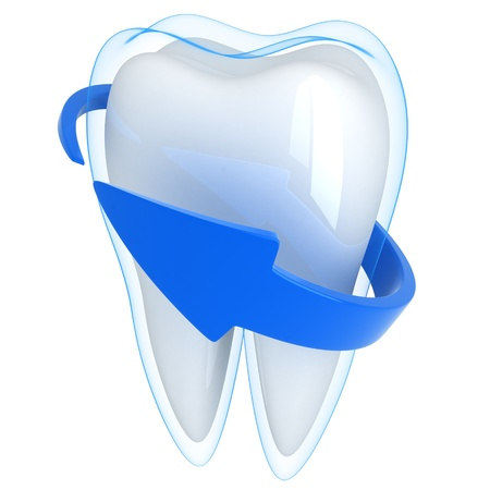 3d shield: Tooth and blue shell  (done in 3d, isolated)