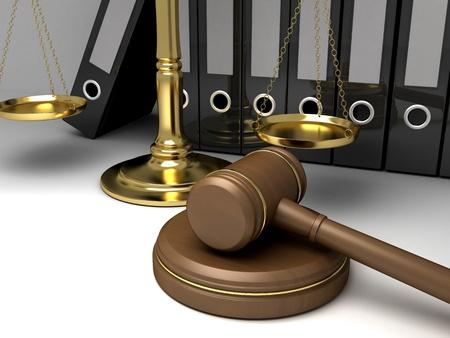 constitucion: Escalas de oro y martillo (fondo, hecho en 3d)