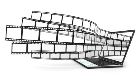 Laptop and films on white background  (done in 3d)  Stock Photo - 10482327