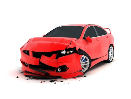 carelessness: Car crash on white background (done in 3d) Stock Photo