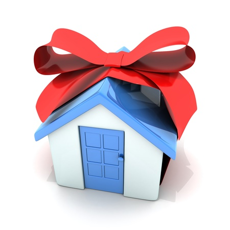sell house: Gift  white home (done in 3d, isolated)   Stock Photo