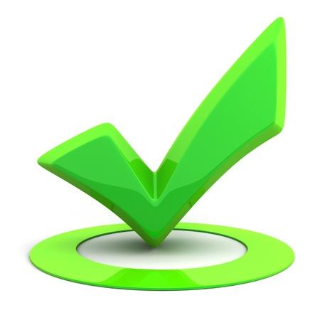 Résumé vert signe ok (réalisé en 3d)