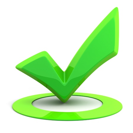 acceptance: Abstract green Sign ok (done in 3d)