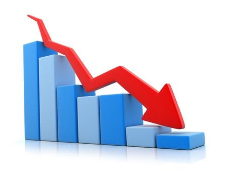 Blauwe grafische en pijl naar beneden (gedaan in 3d) Stockfoto