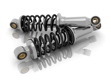 bobina: amortiguador coche (hecho en 3d, aislado)   Foto de archivo