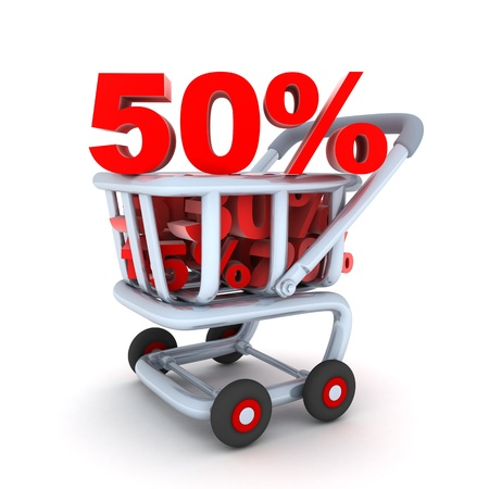 Cart and discount 50% (done in 3d, isolated) Stock Photo - 10766839