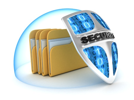 secure files: File and shield on white background (done in 3d)  Stock Photo