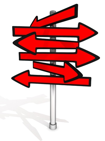 indicative: Abstract red arrow signpost (done in 3d, isolated)