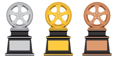 Award wheel gold, bronze, silver (done in 3d, isolated)  photo