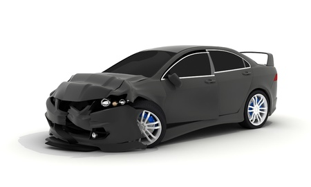 breakage: Car crash on white background (done in 3d)