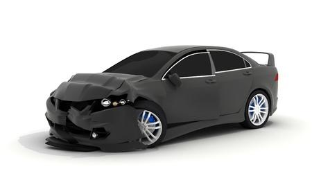 damaged car: Car crash on white background (done in 3d)