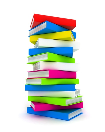bookshop: Column books in different colour (done in 3d)   Stock Photo