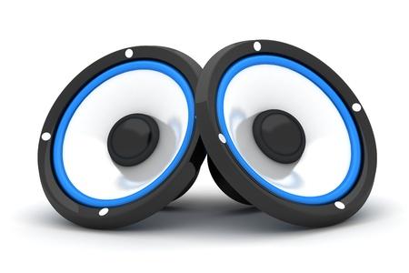 stereo: Deux haut-parleur sur un fond blanc (fait en 3d)