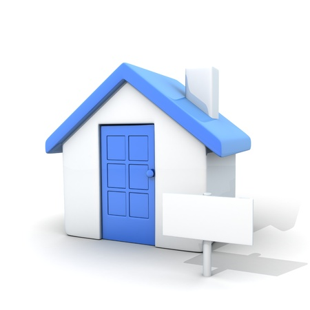 Home and sign empty (done in 3d, cgi)
