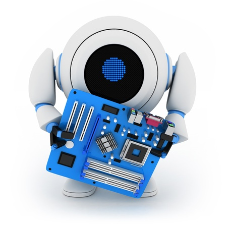 Robot and motherboard (done in 3d, cgi) Stock Photo - 10926844