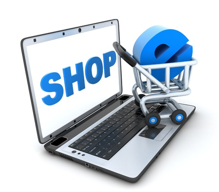Abstract e-shop. laptop and cart (done in 3d) Stock Photo - 11088736