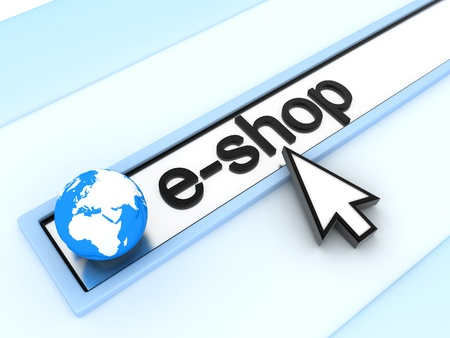 eshop: Address line, e-shop (done in 3d) Stock Photo