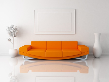modern sofa: Orange sofa in white room (done in 3d)