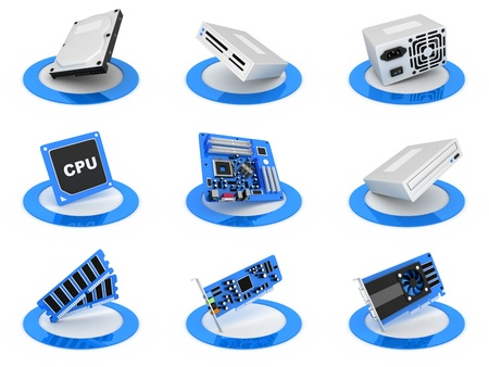 Parts computer icon, blue colour (done in 3d) Stock Photo - 11088737