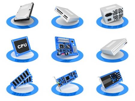 componentes: Piezas de la computadora icono, de color azul (hecho en 3d)